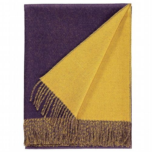 Baby Alpaca Wool - Two Tone Throw - Purple & Gold